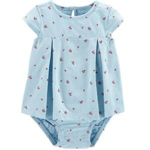 Baby Striped Sunsuit Floral Girl Toddler NEW Blue